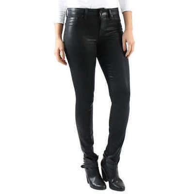 NWT, Women's Level 99 Mid-Rise Coated Skinny Jeans Black,  Size 2