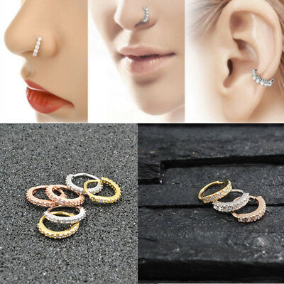 Nose Ring Hoop Rook Helix Ear Studs Cuff Cartilage Crystal Silver/Gold/Rose Gold