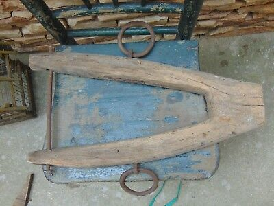 ANTIQUE OXBOW OLD PRIMITIVE WOODEN WOOD CARVED RARE 1900s