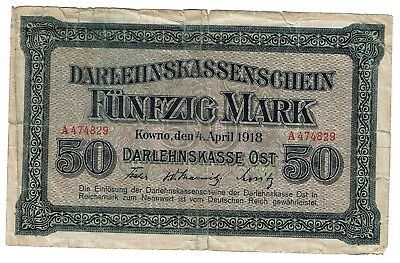 Germany 50 Mark 1918 Darlehenskasse Ost Kowno Kaunas (B236)