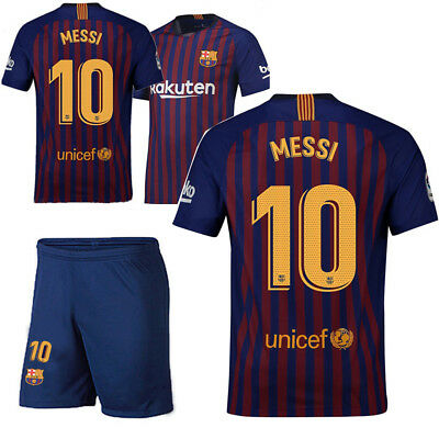 18/19 Barcelona Home #10 Messi Soccer Jersey Kit Top+Shorts Sets New AU STOCK