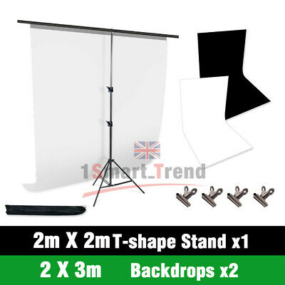 2X3M Photography Video Black White Backdrop Screen Studio Background Support SET