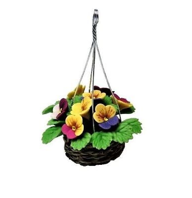 Miniature Dollhouse Fairy Garden Pansies in Woven Hanging Basket - Buy 3 Save $5