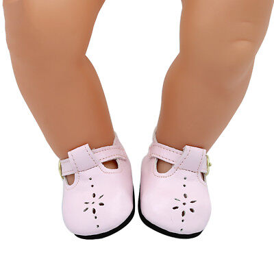 1 Pair Baby Born Doll Shoes 18 Pink Leather Shoes For Zapf Doll Accessories