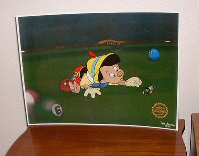 Animated Ltd Edition Serigraph Cel Walt Disney Pinocchio Sericel with Background