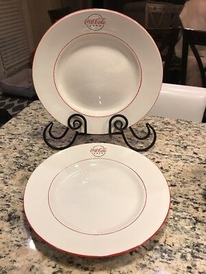 SET Of 2 Coca-Cola CAFE Dinner  Plate With Coca-Cola Cafe VERY NICE