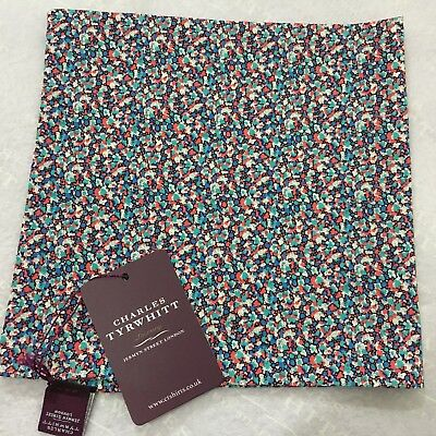 Mens Pocket Square CHARLES TYRWHITT Hand Made Italy Cotton PINK BLUE Mini Floral