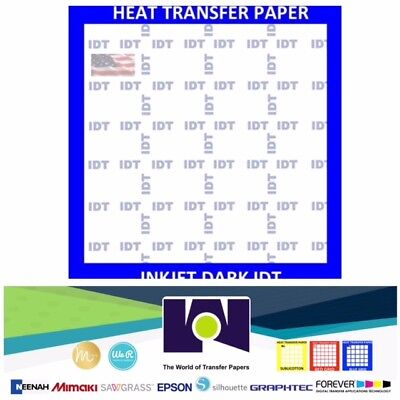 IDT InkJet Iron-On Heat Transfer Paper for Dark fabric soft stretch 10 Sh 8.5x11