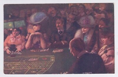 Vintage Tuck Pc Women Playing Roulette Circa 1910
