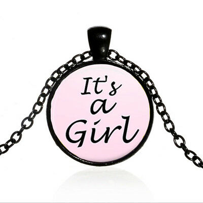 Vintage Pink it's A Girl Cabochon Black Glass Chain Pendant Necklace