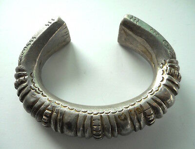 Heavy Old Coin Silver Hilltribe Ring Money Bracelet Laos SE Asia