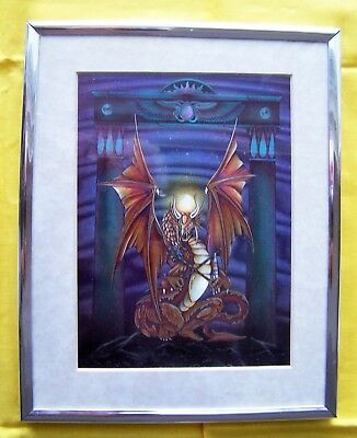 """Beautiful Copper-Color Foil Print Dragon – Matted & Framed 8""""X10"""""""
