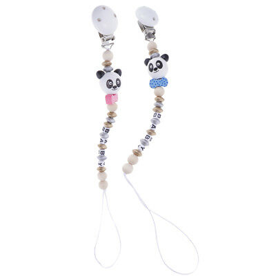 2PCS Cute Baby Wooden Dummy Clip Pacifier Chain Holder Shower Gift