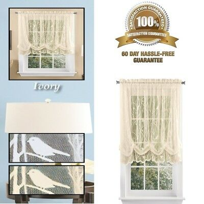 SHABBY CHIC LACE Balloon Shade Bedroom Curtain and Valance 63 inch Length  Ivory