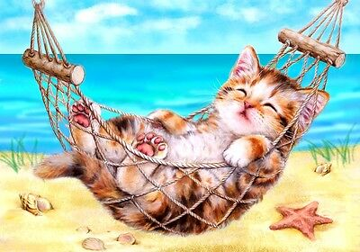 Grafitec Printed Tapestry Needlepoint Canvas - Kitten on Holiday