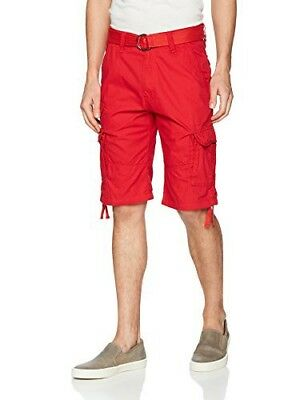 Southpole Men's Mini Belted Ripstop Utility Cargo Short New Red 30