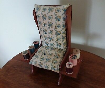 Vintage Wooden Rocking Chair Pin Cushion Thread Spool Holder