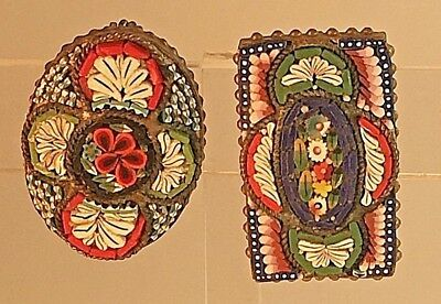 2 small antique Italian micro mosaic glass brooches. Rectang& oval. Vintage B333