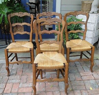 4 Antique French Dining Chairs Rush Seats Shells Tall Ladder Back Stretchers