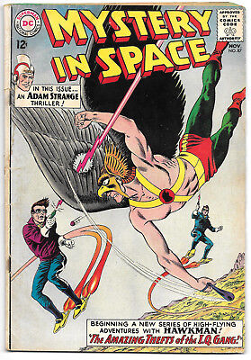 Mystery In Space #87 GD/VG 1963 Silver DC Comics Adam Strange 1st Hawkman Story