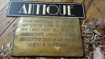 Antique Arts And Crafts Copper Plaque Biblical Bible Matthew 18 Scripture
