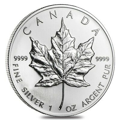 1993 1 oz Silver Canadian Maple Leaf .9999 Fine $5 Coin BU (Sealed)