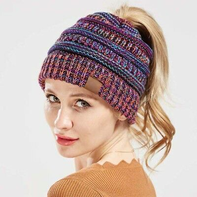 Women Knit Ponytail Messy Bun Beanie Stretch Skullies Ribbed Hat Winter Warm Cap
