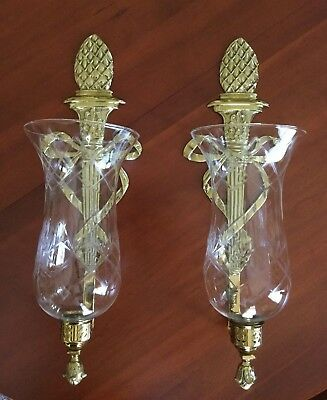 Virginia Metalcrafters Pineapple Bow Brass Wall Scone Pair Large