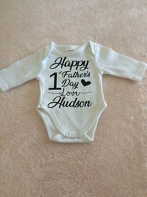 personalised first fathers day bodysuit -- made to order unisex girl boy