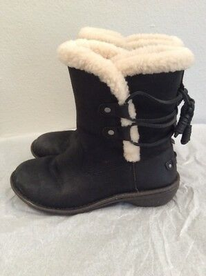 3c62a72b71d UGG 1007760 AKADIA Black Winter Booties Lace Up Back Boots Leather ...