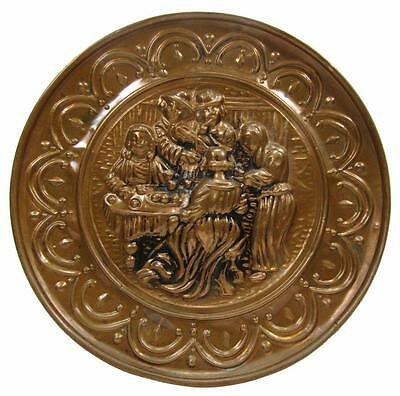 Wall Hanging Pressed Copper English Tavern Plate Plaque Vintage 60's 25 cm