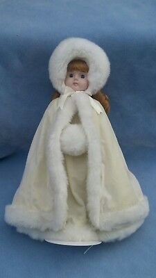 """Vintage 16"""" Holiday Moments Porcelain Christmas Doll in White, Bette Ball Design"""