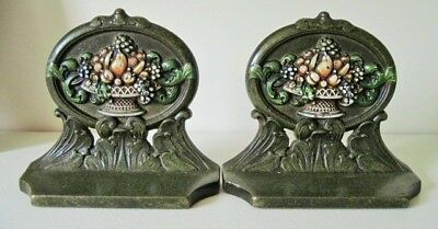 Antique Cast Iron CJO JUDD Bookends Classical Fruit Basket Marked Original