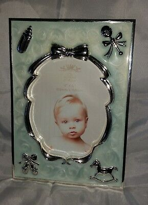 Baby Boy Gift-  Silver Plated & Blue Pearl Look  Photo Frame, Personalised Free