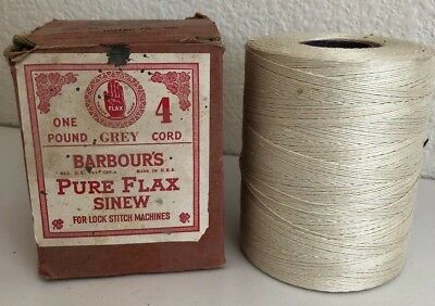 BARBOURS Pure Flax Sinew 4 Gray Cord Sewing Thread Lock Stitch Machine 1 lb