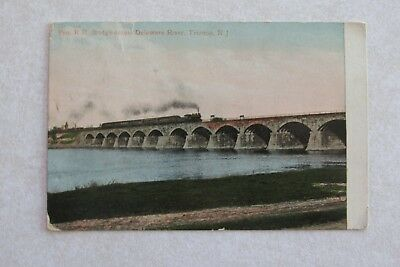b444 vintage postcard Railroad Bridge RR Train Delaware River Trenton NJ New Jer