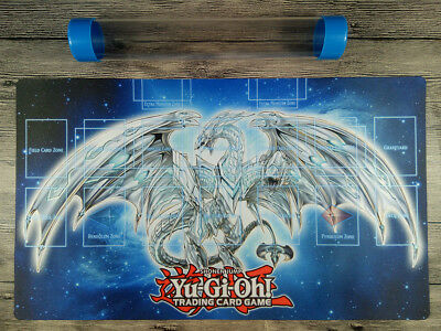 YuGiOh Neo Blue Eyes Ultimate Dragon Link Zones Playmat Rule 4 TCG Mat Free Tube