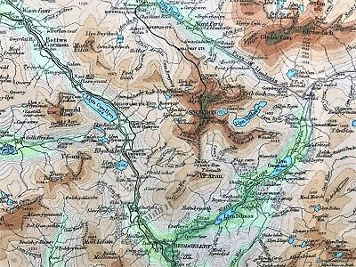 1926 Antique Color Map ~ Snowdon District ~ Wales U.k. ~ 100% Authentic