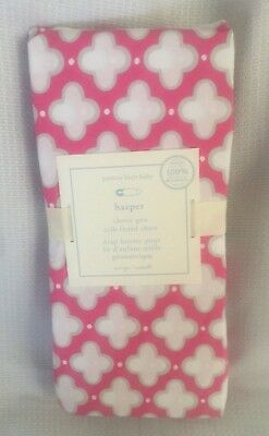 Pottery Barn Baby Harper Pink Clover GEO Crib Fitted Sheet NWT
