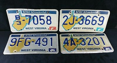 "Lot of 4 Retro 1978 - 1986 Wild Wonderful West Virginia License Plates 12""x6"""