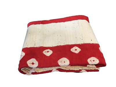 """African  Red and White Mud Cloth Textile Mali 40"""" by 60"""""""