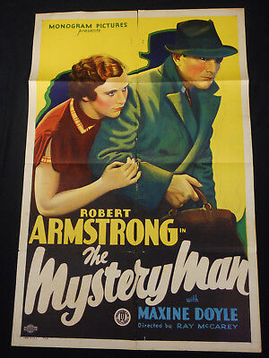 The Mystery Man 1935 * Robert 'king Kong' Armstrong * Beautiful Stone Litho!!