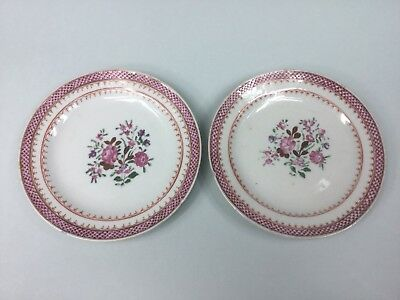 Two 18th C. Chinese Small Famille Rose Plates
