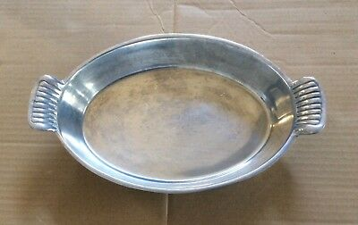 """Heavyweight Vtg Pewter MEXICO Oval Serving Platter Tray W/Handle 11 3/4"""" L"""