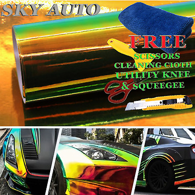 Holographic Rainbow Green Neo Chrome Car Vinyl Wrap Film Sheet + Free Tools