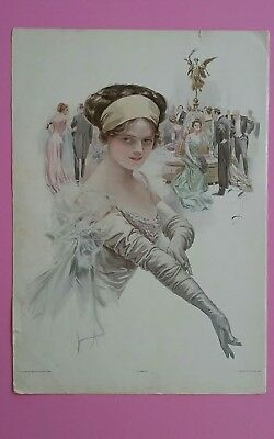 VTG Harrison Fisher Pretty Lady The Debutante 1910 Antique Art Print Art Deco