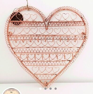 Copper Metal Wire Heart Jewellery Holder,stand,tree,wall Hanging Bedroom Storage