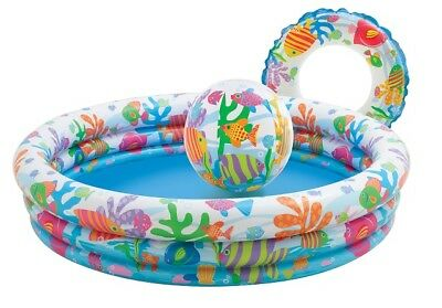 "Intex 4-Ring Pool Set "" Fishbowl "" Children Paddling Pool with Inflatable Toy"