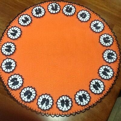 15 inch candle mat, halloween decor, ornaments, penny rug, doily, black bow