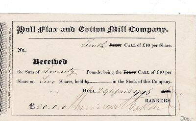 Hull Flax and Cotton Mill Company 1826 share Great Britain Aktie Textilindustrie